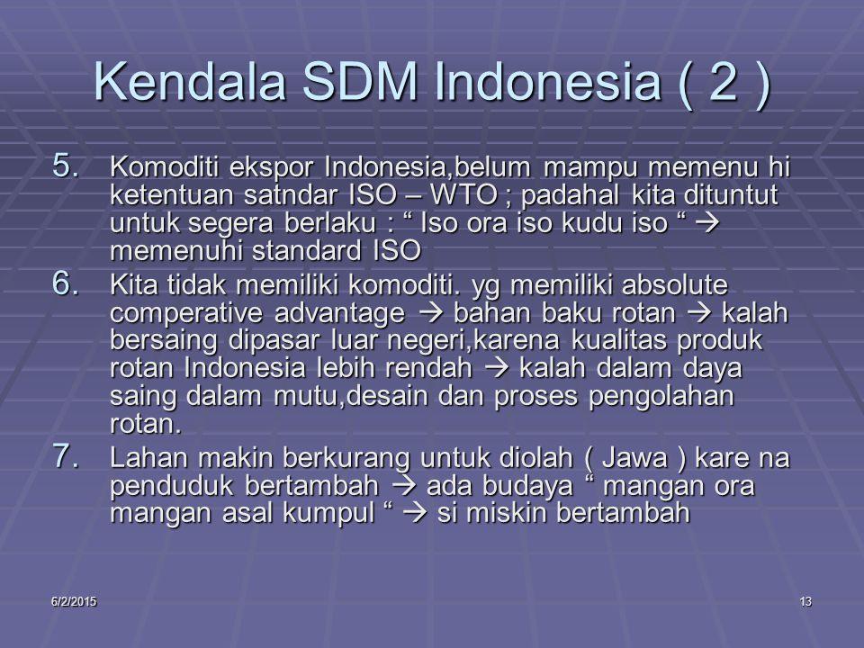 6/2/201513 Kendala SDM Indonesia ( 2 ) 5.