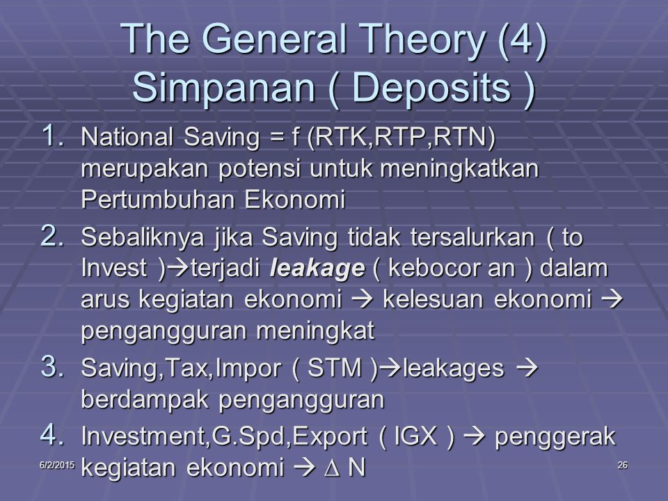 6/2/201526 The General Theory (4) Simpanan ( Deposits ) 1.