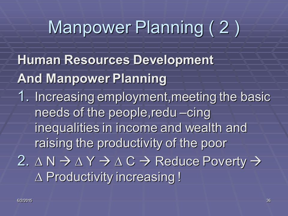 6/2/201536 Manpower Planning ( 2 ) Human Resources Development And Manpower Planning 1. Increasing employment,meeting the basic needs of the people,re