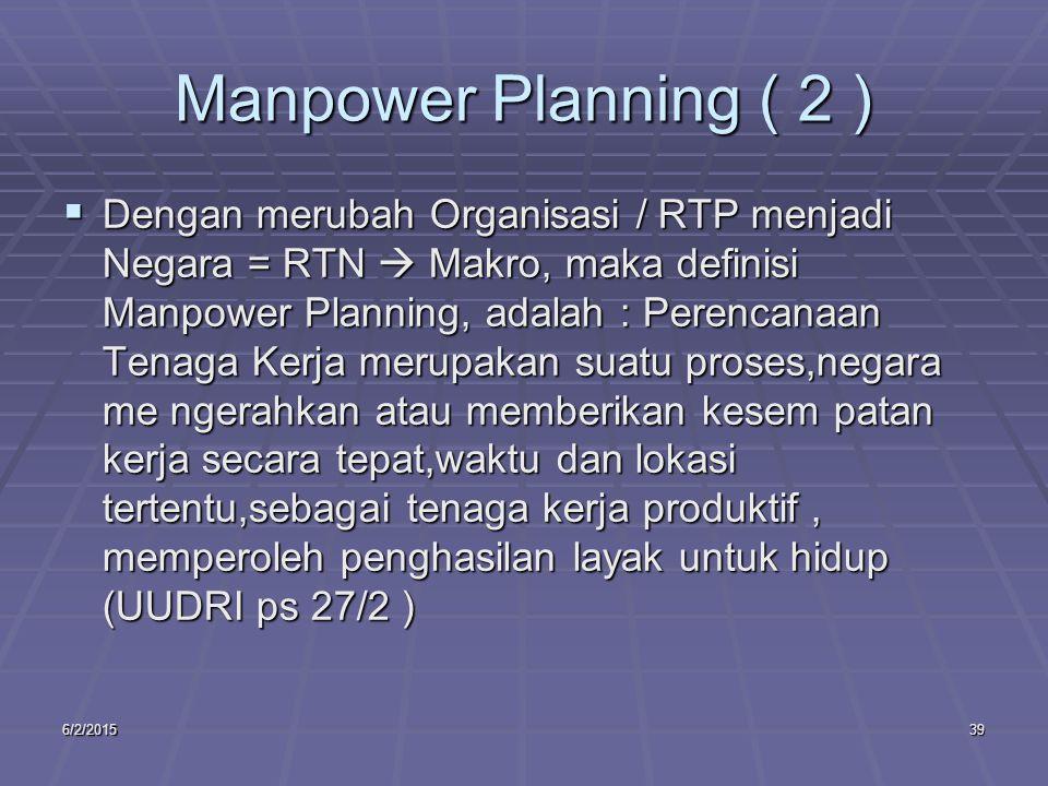 6/2/201539 Manpower Planning ( 2 )  Dengan merubah Organisasi / RTP menjadi Negara = RTN  Makro, maka definisi Manpower Planning, adalah : Perencanaan Tenaga Kerja merupakan suatu proses,negara me ngerahkan atau memberikan kesem patan kerja secara tepat,waktu dan lokasi tertentu,sebagai tenaga kerja produktif, memperoleh penghasilan layak untuk hidup (UUDRI ps 27/2 )