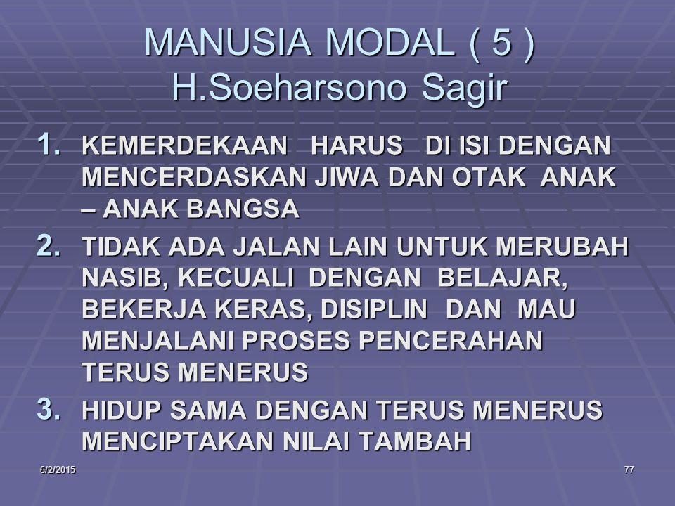 6/2/201577 MANUSIA MODAL ( 5 ) H.Soeharsono Sagir 1.