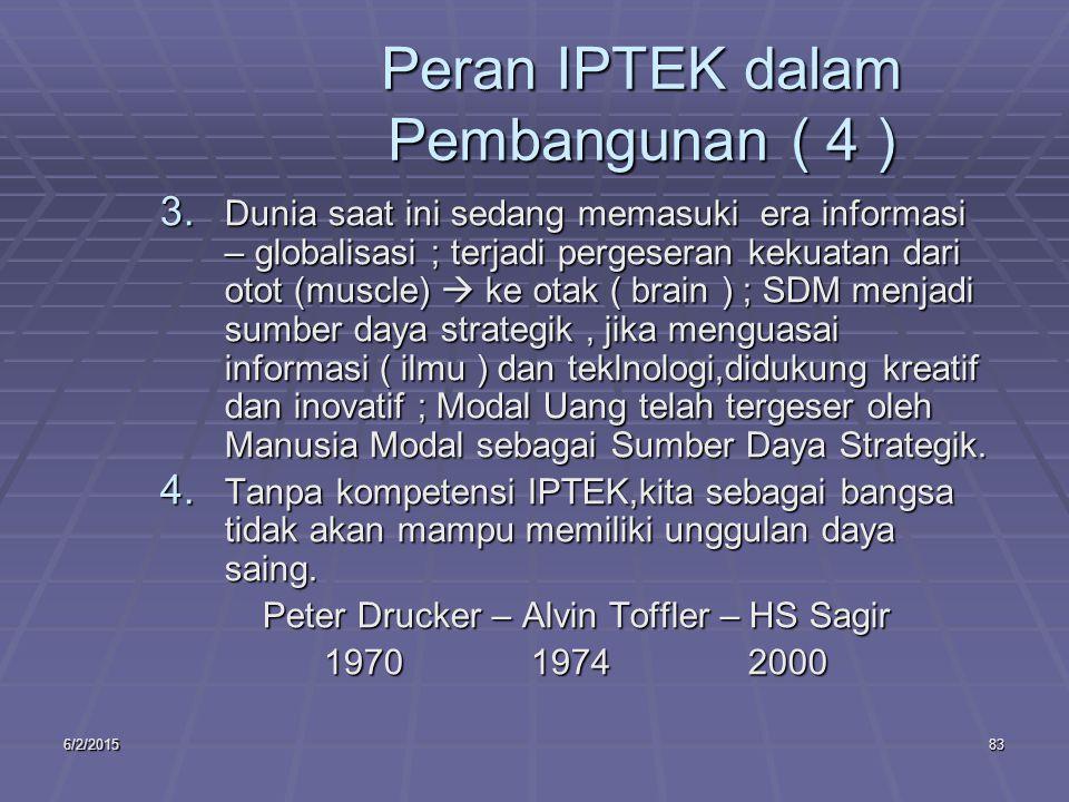 6/2/201583 Peran IPTEK dalam Pembangunan ( 4 ) 3.