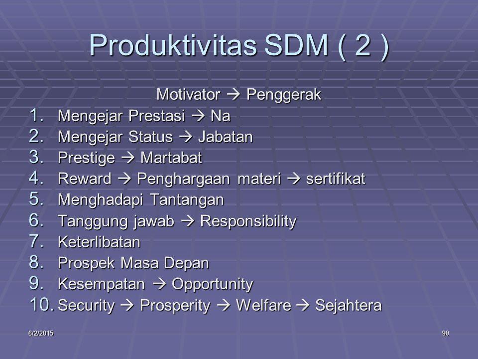 6/2/201590 Produktivitas SDM ( 2 ) Motivator  Penggerak 1.