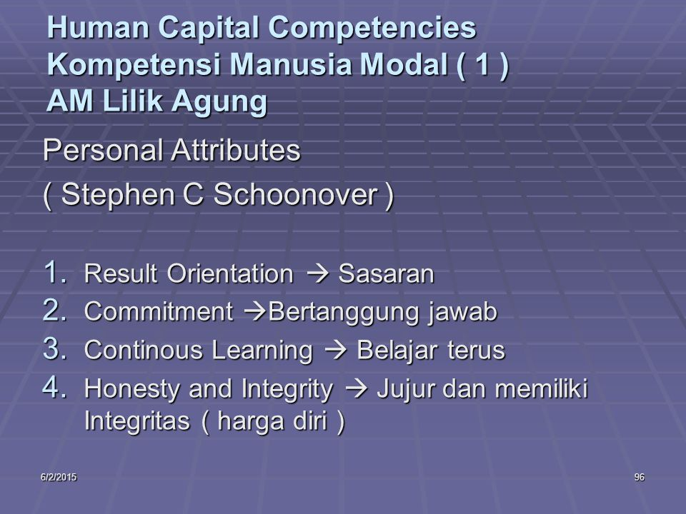 6/2/201596 Human Capital Competencies Kompetensi Manusia Modal ( 1 ) AM Lilik Agung Personal Attributes ( Stephen C Schoonover ) 1. Result Orientation
