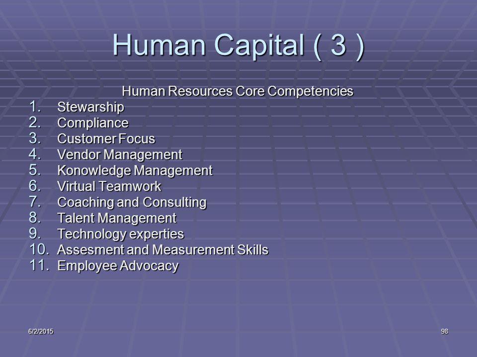 6/2/201598 Human Capital ( 3 ) Human Resources Core Competencies 1.
