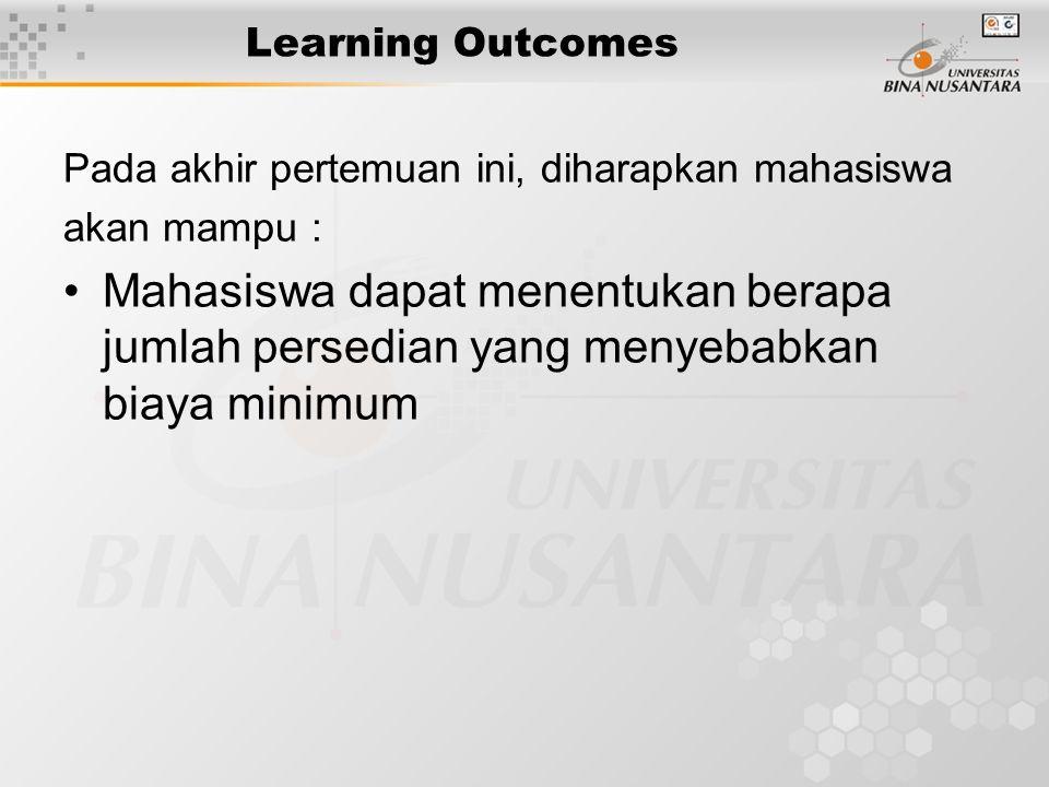 Learning Outcomes Pada akhir pertemuan ini, diharapkan mahasiswa akan mampu : Mahasiswa dapat menentukan berapa jumlah persedian yang menyebabkan biaya minimum