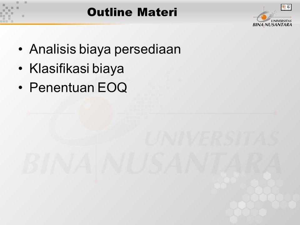 Outline Materi Analisis biaya persediaan Klasifikasi biaya Penentuan EOQ