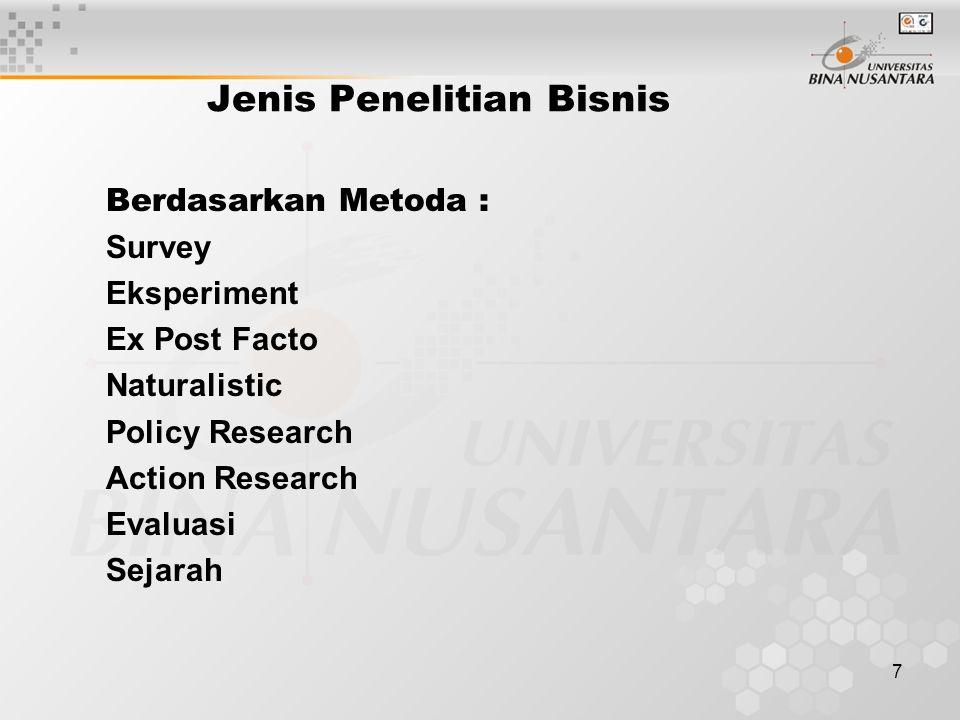 7 Berdasarkan Metoda : Survey Eksperiment Ex Post Facto Naturalistic Policy Research Action Research Evaluasi Sejarah Jenis Penelitian Bisnis