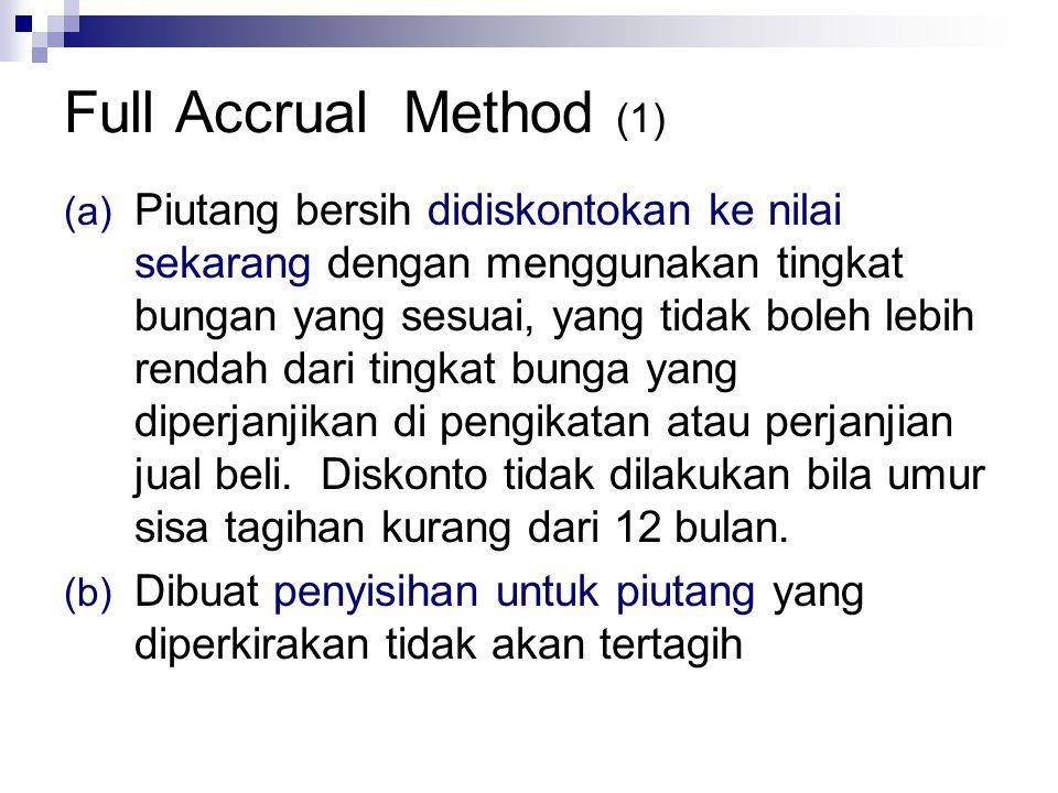 Full Accrual Method (1) (a) Piutang bersih didiskontokan ke nilai sekarang dengan menggunakan tingkat bungan yang sesuai, yang tidak boleh lebih rendah dari tingkat bunga yang diperjanjikan di pengikatan atau perjanjian jual beli.