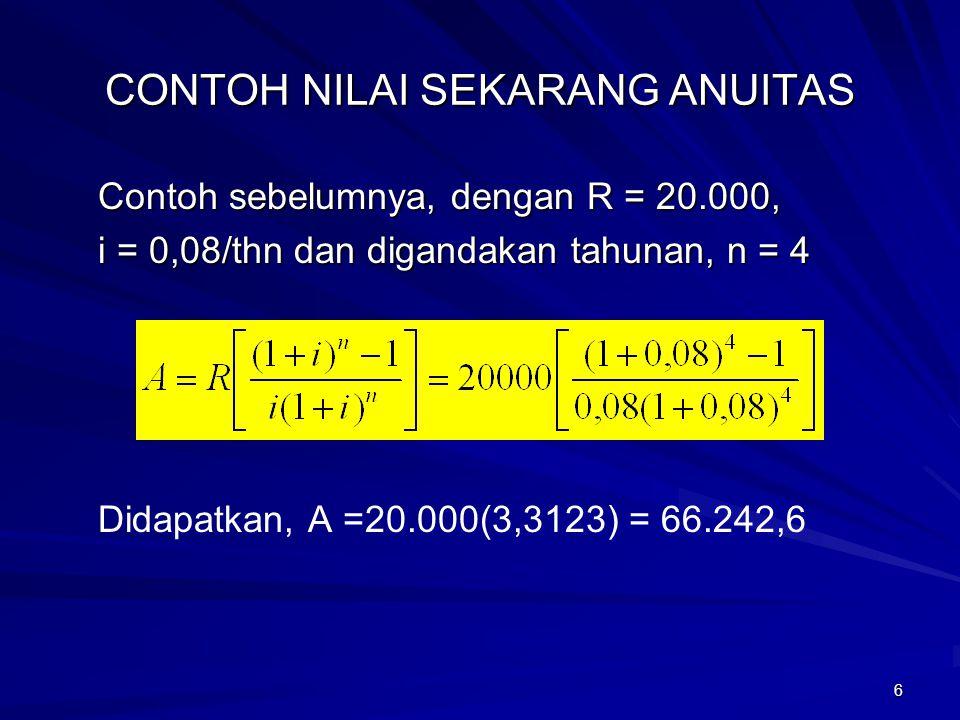 6 CONTOH NILAI SEKARANG ANUITAS Contoh sebelumnya, dengan R = 20.000, i = 0,08/thn dan digandakan tahunan, n = 4 Didapatkan, A =20.000(3,3123) = 66.24