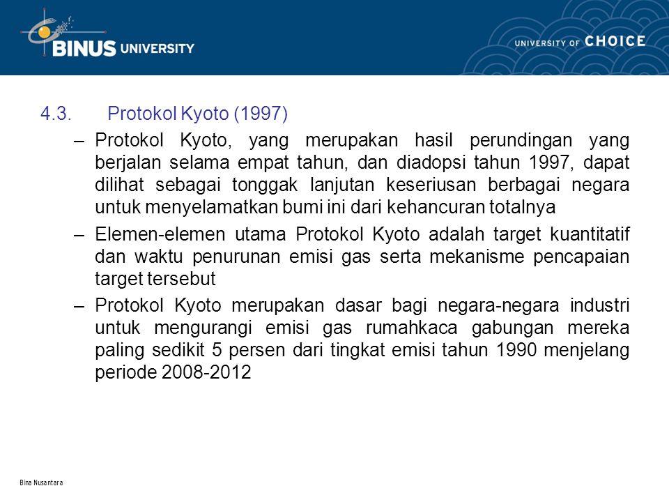 Bina Nusantara 4.3.Protokol Kyoto (1997) –Protokol Kyoto, yang merupakan hasil perundingan yang berjalan selama empat tahun, dan diadopsi tahun 1997,
