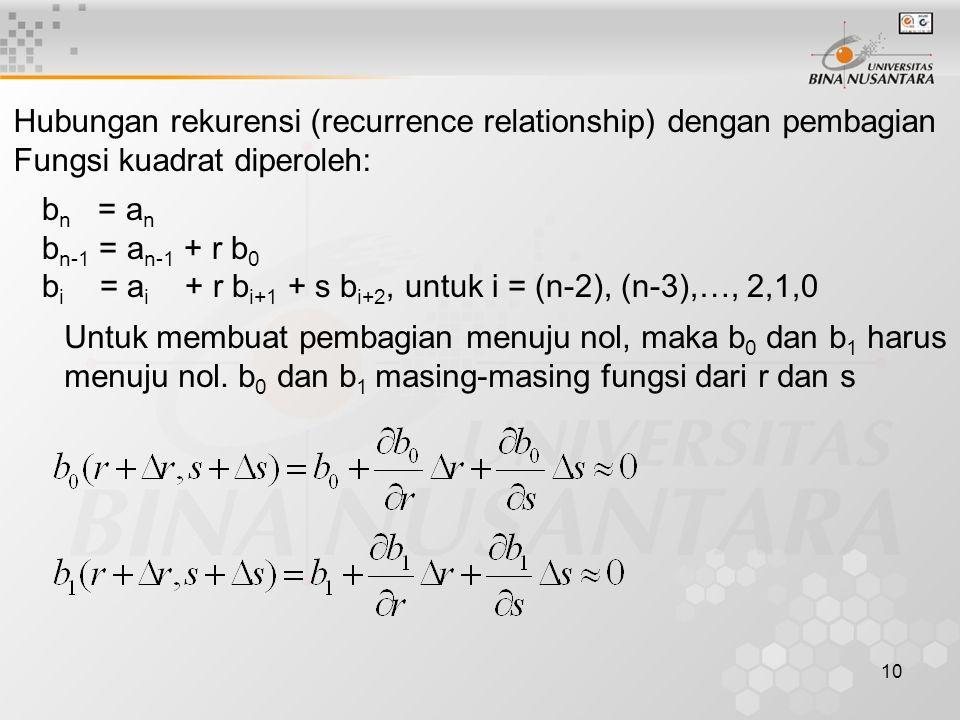 10 Hubungan rekurensi (recurrence relationship) dengan pembagian Fungsi kuadrat diperoleh: b n = a n b n-1 = a n-1 + r b 0 b i = a i + r b i+1 + s b i
