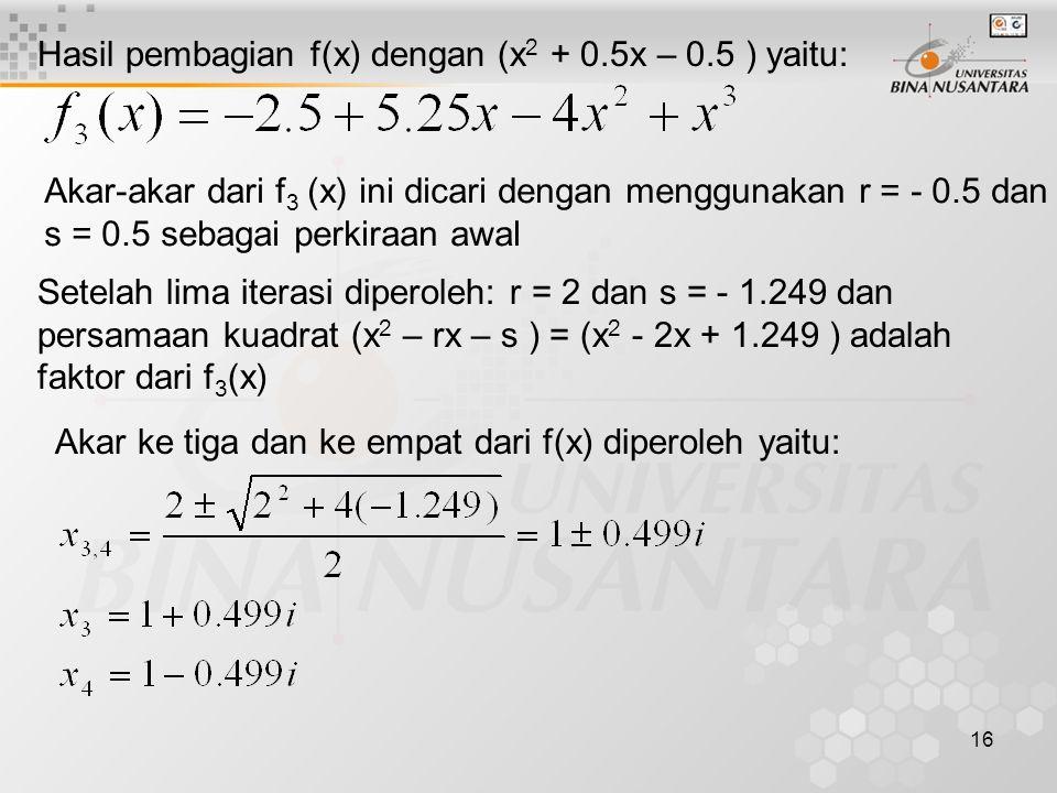 16 Hasil pembagian f(x) dengan (x 2 + 0.5x – 0.5 ) yaitu: Akar-akar dari f 3 (x) ini dicari dengan menggunakan r = - 0.5 dan s = 0.5 sebagai perkiraan
