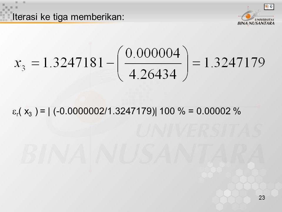 23 Iterasi ke tiga memberikan:  r ( x 3 ) = | (-0.0000002/1.3247179)| 100 % = 0.00002 %