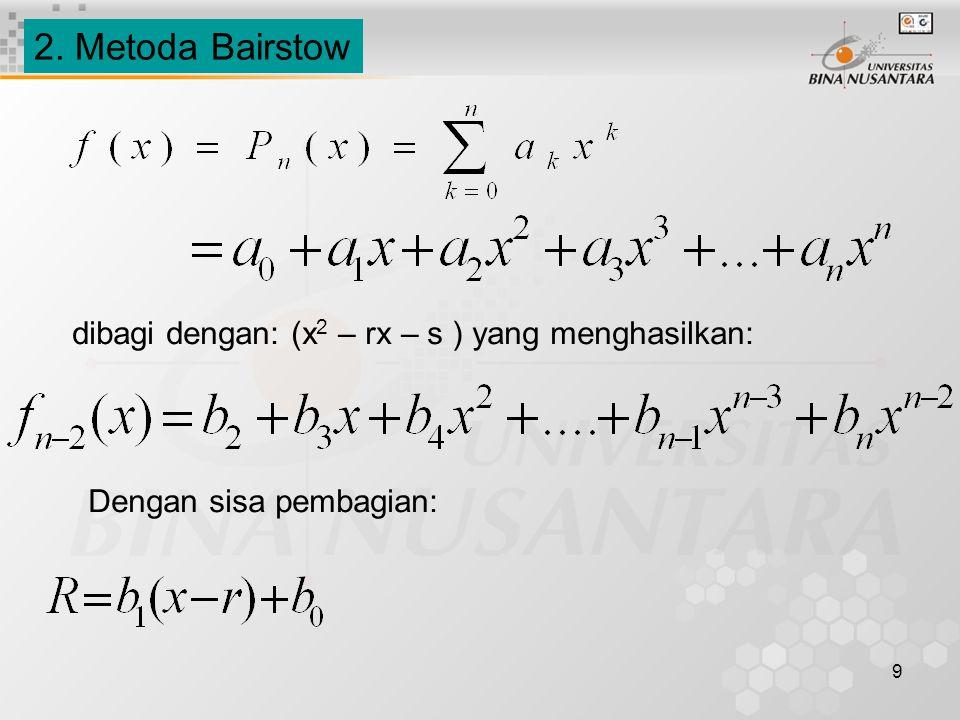 10 Hubungan rekurensi (recurrence relationship) dengan pembagian Fungsi kuadrat diperoleh: b n = a n b n-1 = a n-1 + r b 0 b i = a i + r b i+1 + s b i+2, untuk i = (n-2), (n-3),…, 2,1,0 Untuk membuat pembagian menuju nol, maka b 0 dan b 1 harus menuju nol.