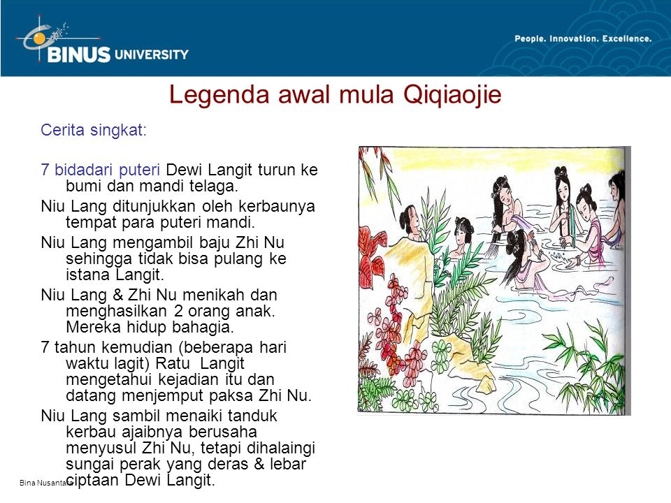 Bina Nusantara Legenda awal mula Qiqiaojie Cerita singkat: 7 bidadari puteri Dewi Langit turun ke bumi dan mandi telaga.
