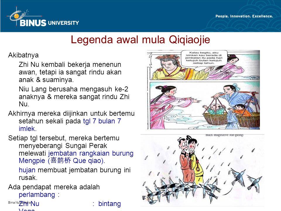 Bina Nusantara Legenda awal mula Qiqiaojie Akibatnya Zhi Nu kembali bekerja menenun awan, tetapi ia sangat rindu akan anak & suaminya.
