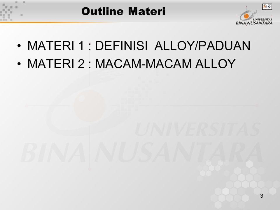 3 Outline Materi MATERI 1 : DEFINISI ALLOY/PADUAN MATERI 2 : MACAM-MACAM ALLOY