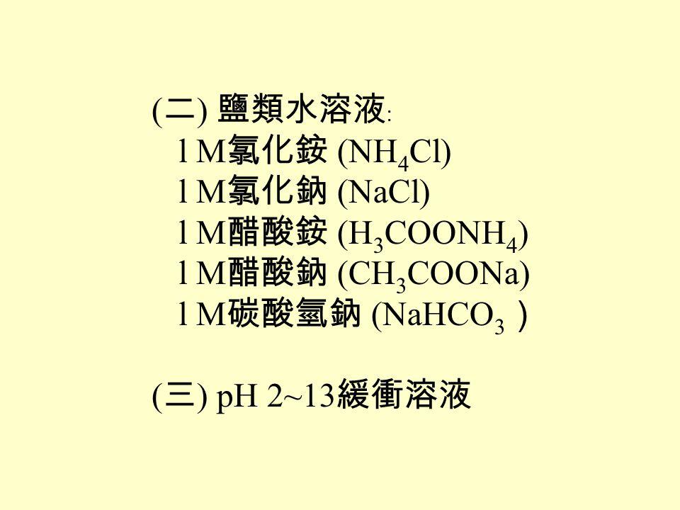 ( 二 ) 鹽類水溶液﹕ l M 氯化銨 (NH 4 Cl) l M 氯化鈉 (NaCl) l M 醋酸銨 (H 3 COONH 4 ) l M 醋酸鈉 (CH 3 COONa) l M 碳酸氫鈉 (NaHCO 3 ) ( 三 ) pH 2~13 緩衝溶液