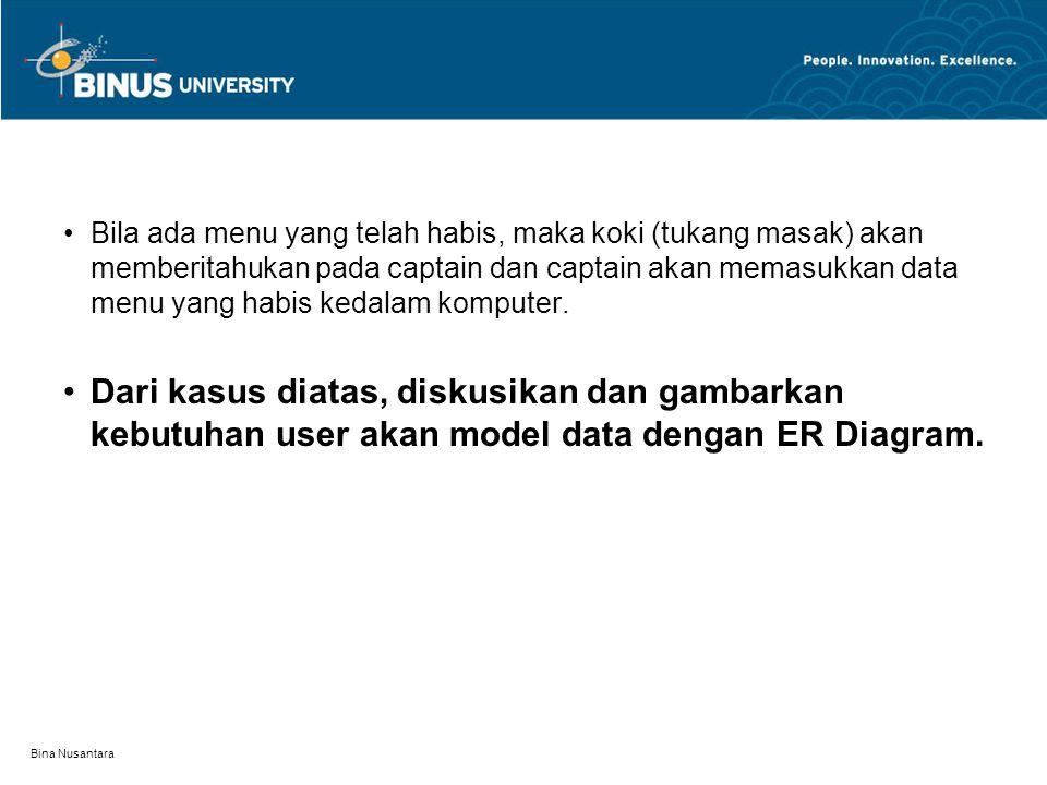 Bina Nusantara Bila ada menu yang telah habis, maka koki (tukang masak) akan memberitahukan pada captain dan captain akan memasukkan data menu yang ha