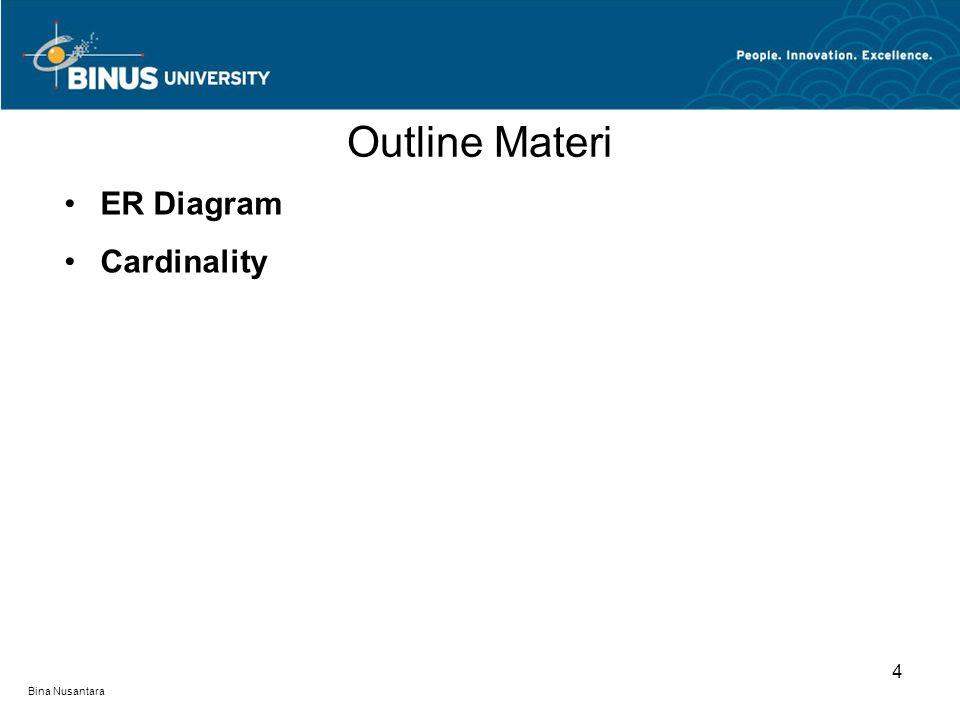 Bina Nusantara ER Diagram Cardinality Outline Materi 4