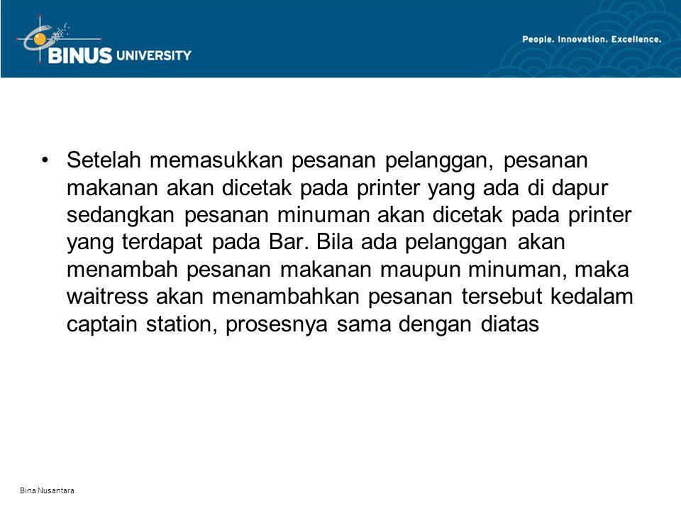 Bina Nusantara Setelah memasukkan pesanan pelanggan, pesanan makanan akan dicetak pada printer yang ada di dapur sedangkan pesanan minuman akan diceta