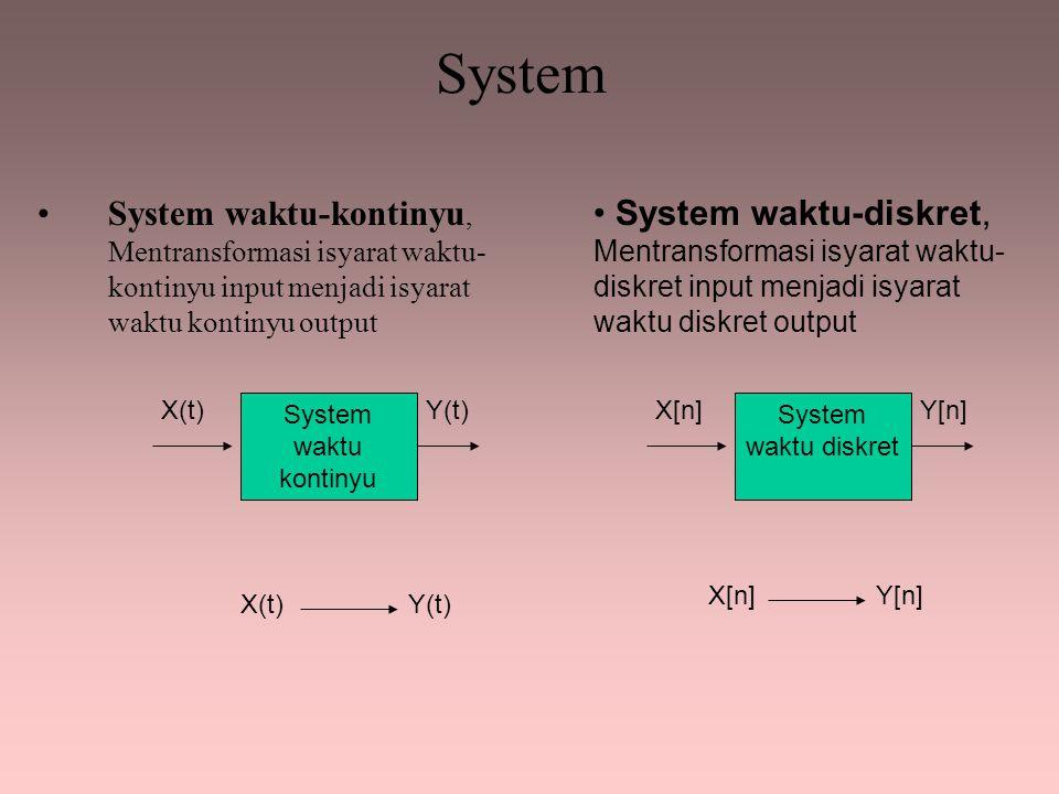 Linearitas x[n] = x1[n] + x2[n] x[n]  y[n] = 2 x[n] + 3 x1[n]  y[n] = 2 x1[n] + 3 x2[n]  y[n] = 2 x2[n] + 3 x1[n] + x2[n]  2 x1[n] + 3 + 2 x2[n] + 3  2 x1[n] + 2 x2[n] + 6  2 x[n] + 6 Tidak linear