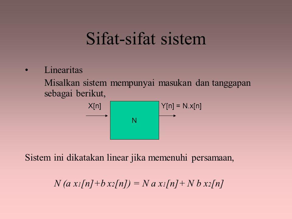 Sifat-sifat sistem Linearitas Misalkan sistem mempunyai masukan dan tanggapan sebagai berikut, Sistem ini dikatakan linear jika memenuhi persamaan, N