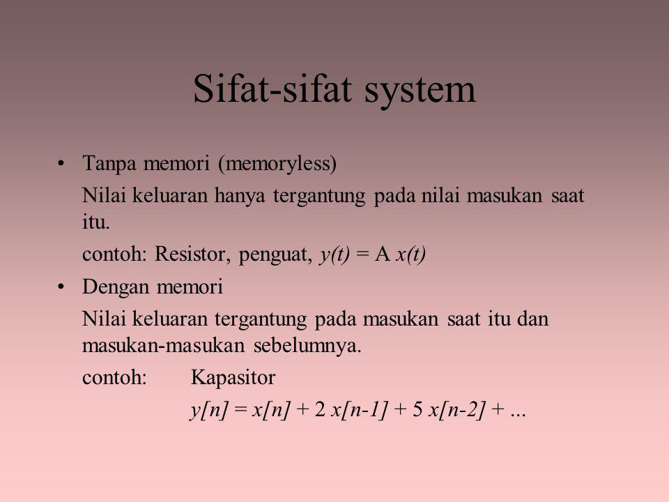 Sifat-sifat system Invertibilitas Jika keluaran diketahui, kita dapat menentukan masukannya.