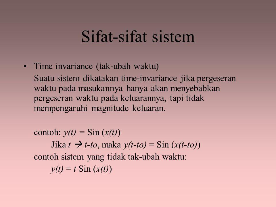Sifat-sifat sistem Time invariance (tak-ubah waktu) Suatu sistem dikatakan time-invariance jika pergeseran waktu pada masukannya hanya akan menyebabka