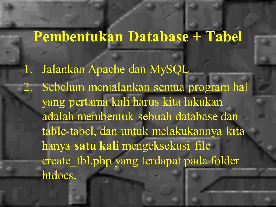 Pembentukan Database + Tabel 1.Jalankan Apache dan MySQL 2.Sebelum menjalankan semua program hal yang pertama kali harus kita lakukan adalah membentuk sebuah database dan table-tabel, dan untuk melakukannya kita hanya satu kali mengeksekusi file create_tbl.php yang terdapat pada folder htdocs.