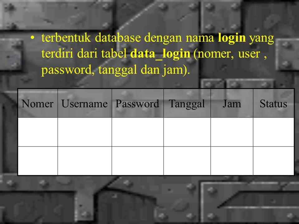 terbentuk database dengan nama login yang terdiri dari tabel data_login (nomer, user, password, tanggal dan jam).