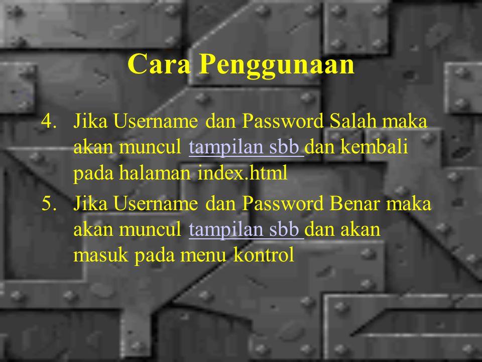 Cara Penggunaan 4.Jika Username dan Password Salah maka akan muncul tampilan sbb dan kembali pada halaman index.htmltampilan sbb 5.Jika Username dan Password Benar maka akan muncul tampilan sbb dan akan masuk pada menu kontroltampilan sbb