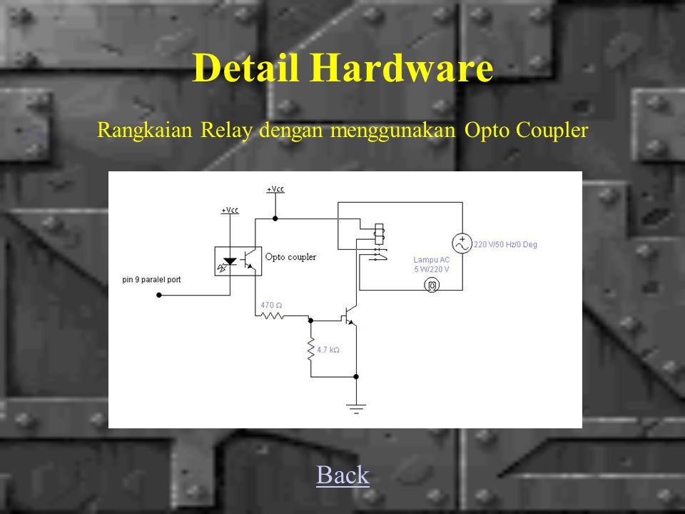 Detail Hardware Rangkaian Relay dengan menggunakan Opto Coupler Back