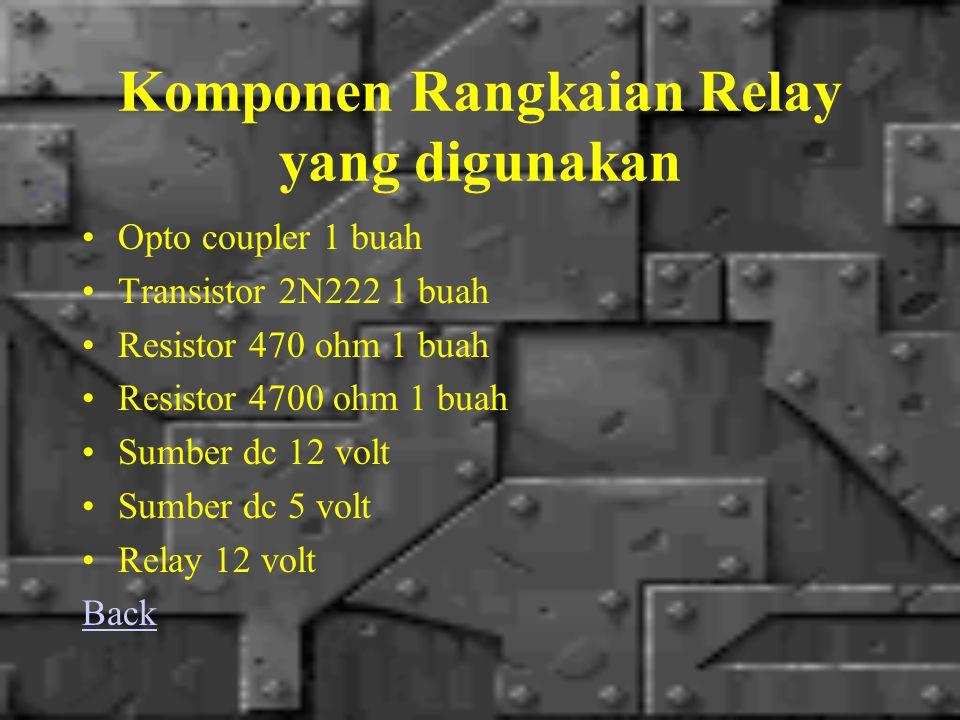 Komponen Rangkaian Relay yang digunakan Opto coupler 1 buah Transistor 2N222 1 buah Resistor 470 ohm 1 buah Resistor 4700 ohm 1 buah Sumber dc 12 volt Sumber dc 5 volt Relay 12 volt Back