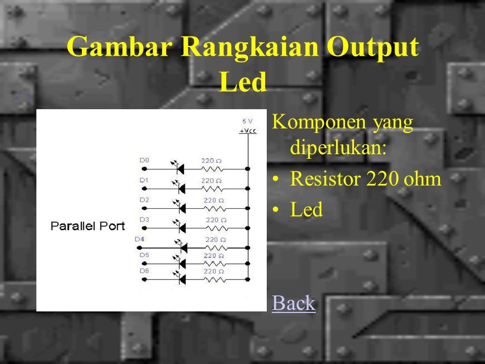 Gambar Rangkaian Output Led Komponen yang diperlukan: Resistor 220 ohm Led Back