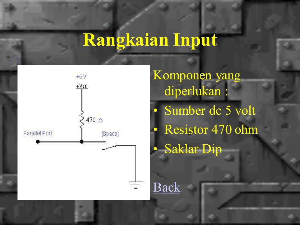 Rangkaian Input Komponen yang diperlukan : Sumber dc 5 volt Resistor 470 ohm Saklar Dip Back