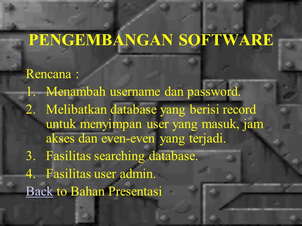 PENGEMBANGAN SOFTWARE Realisasi : Menambah username dan password.