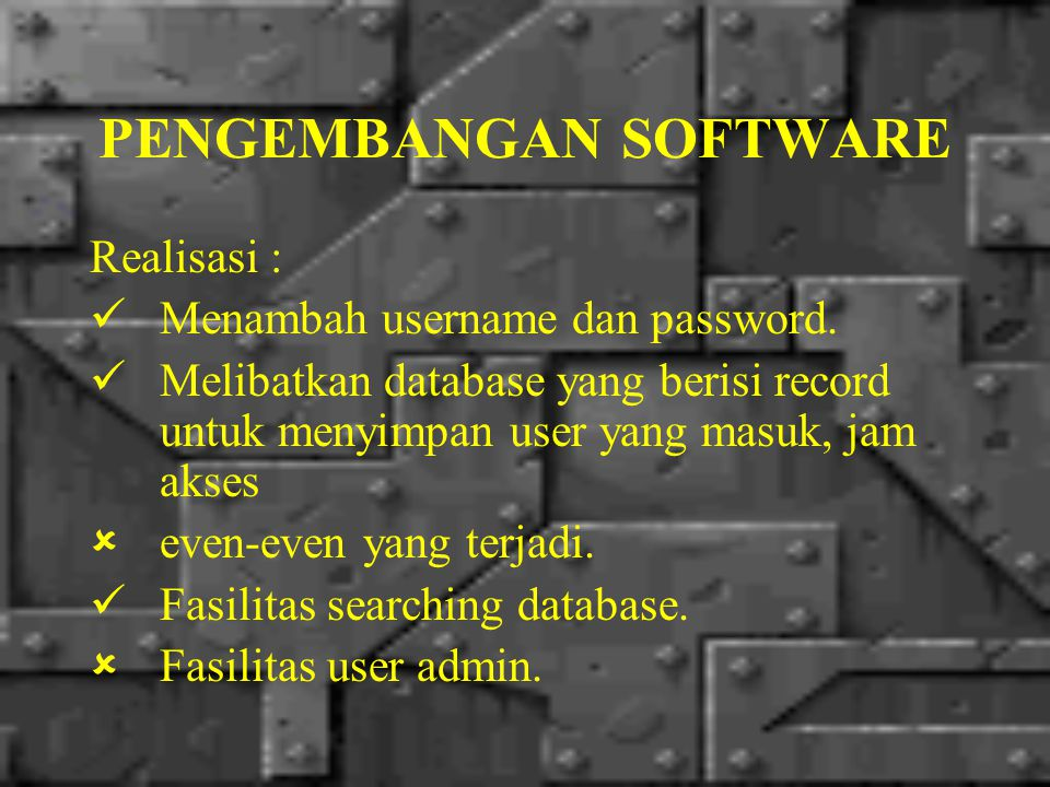 DETAIL SOFTWARE 1.Alur Request Server  ClientAlur Request Server  Client 2.Konfigurasi Server dan ClientKonfigurasi Server dan Client 3.Instalasi SoftwareInstalasi Software 4.Pembentukan Database + TabelPembentukan Database + Tabel 5.Cara PenggunaanCara Penggunaan BackBack to Bahan Presentasi