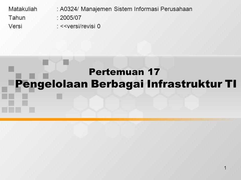 1 Pertemuan 17 Pengelolaan Berbagai Infrastruktur TI Matakuliah: A0324/ Manajemen Sistem Informasi Perusahaan Tahun: 2005/07 Versi: <<versi/revisi 0