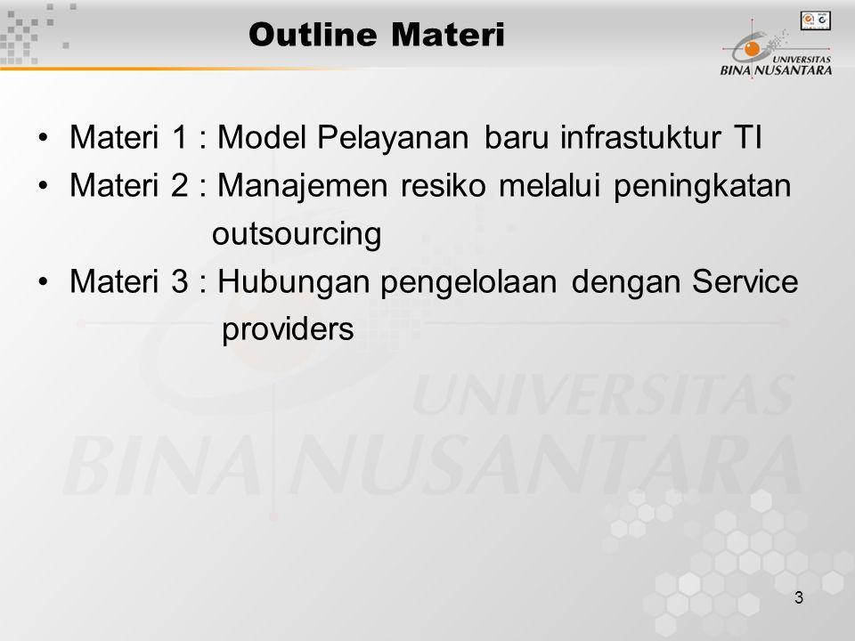 3 Outline Materi Materi 1 : Model Pelayanan baru infrastuktur TI Materi 2 : Manajemen resiko melalui peningkatan outsourcing Materi 3 : Hubungan pengelolaan dengan Service providers