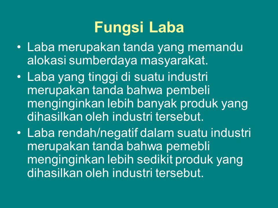 Fungsi Laba Laba merupakan tanda yang memandu alokasi sumberdaya masyarakat. Laba yang tinggi di suatu industri merupakan tanda bahwa pembeli mengingi