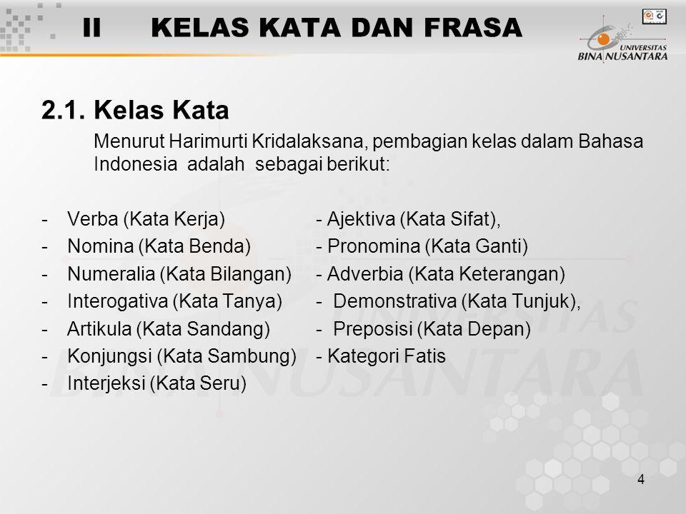 4 IIKELAS KATA DAN FRASA 2.1. Kelas Kata Menurut Harimurti Kridalaksana, pembagian kelas dalam Bahasa Indonesia adalah sebagai berikut: -Verba (Kata K