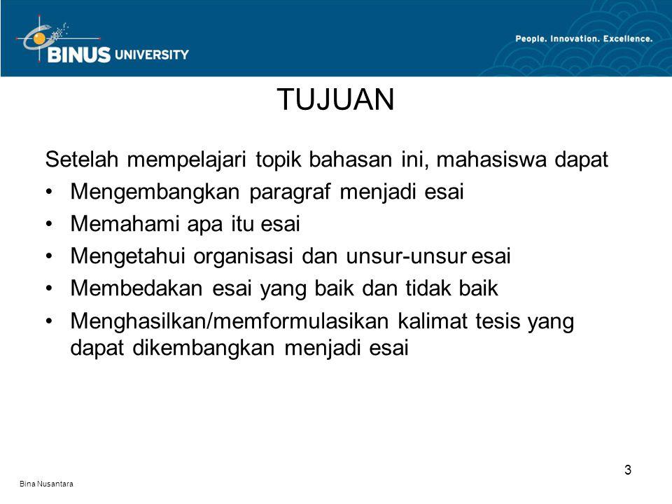 Bina Nusantara Setelah mempelajari topik bahasan ini, mahasiswa dapat Mengembangkan paragraf menjadi esai Memahami apa itu esai Mengetahui organisasi