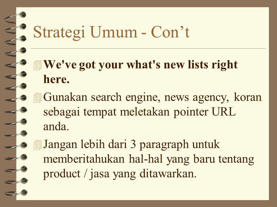 Strategi Umum Con't 4 Respond, respond, respond 4 Cepat bereaksi terhadap permintaan client / penggemar.