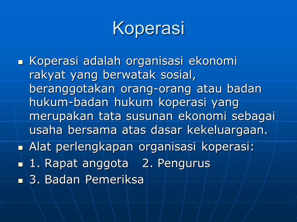 Koperasi Koperasi adalah organisasi ekonomi rakyat yang berwatak sosial, beranggotakan orang-orang atau badan hukum-badan hukum koperasi yang merupakan tata susunan ekonomi sebagai usaha bersama atas dasar kekeluargaan.