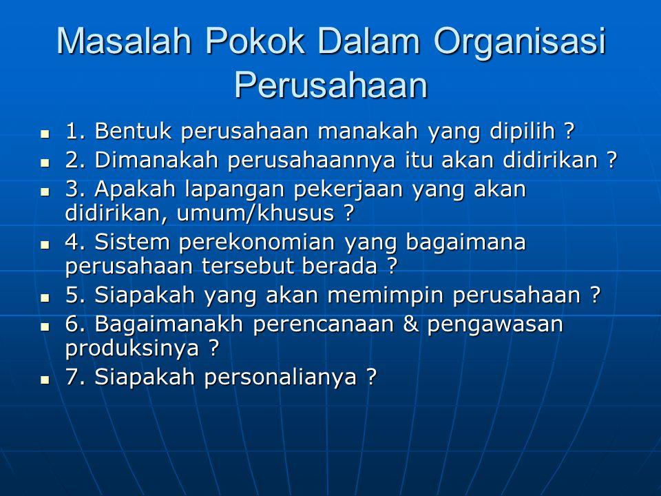Masalah Pokok Dalam Organisasi Perusahaan 1.Bentuk perusahaan manakah yang dipilih .