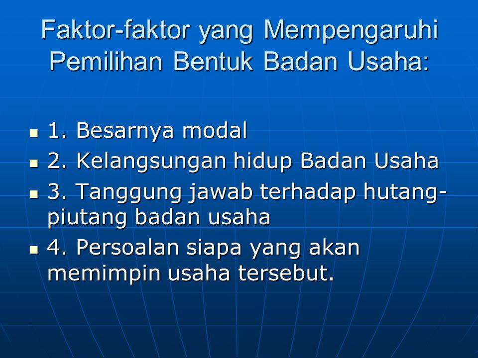 Faktor-faktor yang Mempengaruhi Pemilihan Bentuk Badan Usaha: 1.