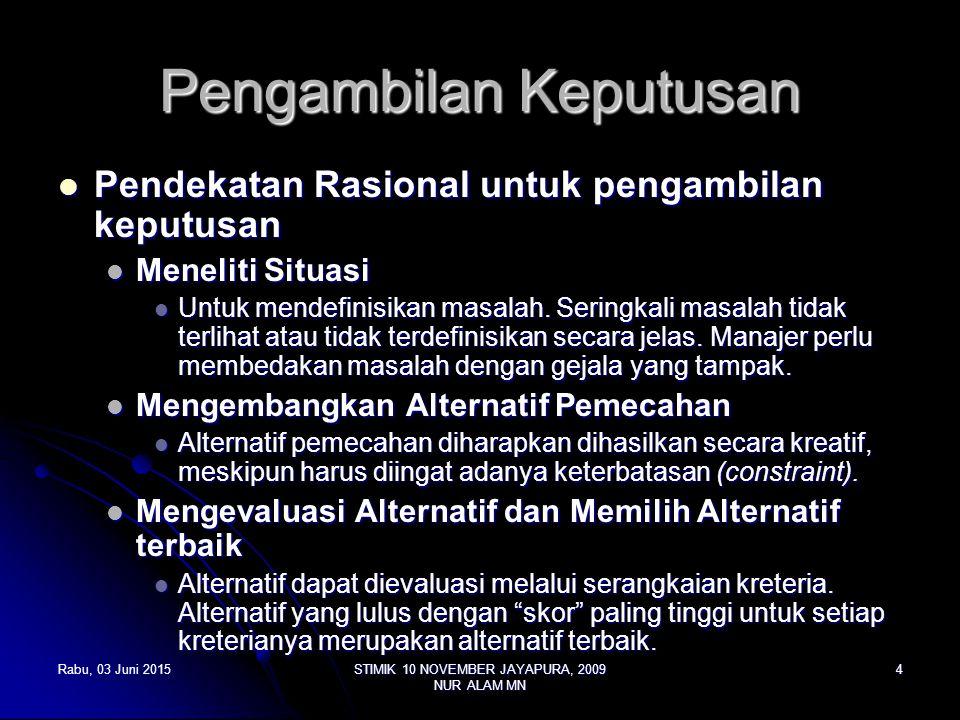 Rabu, 03 Juni 2015Rabu, 03 Juni 2015Rabu, 03 Juni 2015Rabu, 03 Juni 2015STIMIK 10 NOVEMBER JAYAPURA, 2009 NUR ALAM MN 4 Pengambilan Keputusan Pendekatan Rasional untuk pengambilan keputusan Pendekatan Rasional untuk pengambilan keputusan Meneliti Situasi Meneliti Situasi Untuk mendefinisikan masalah.