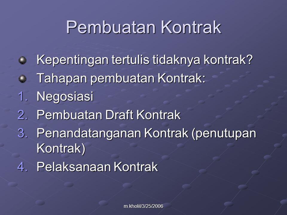 m.kholil/3/25/2006 Pembuatan Kontrak Kepentingan tertulis tidaknya kontrak.